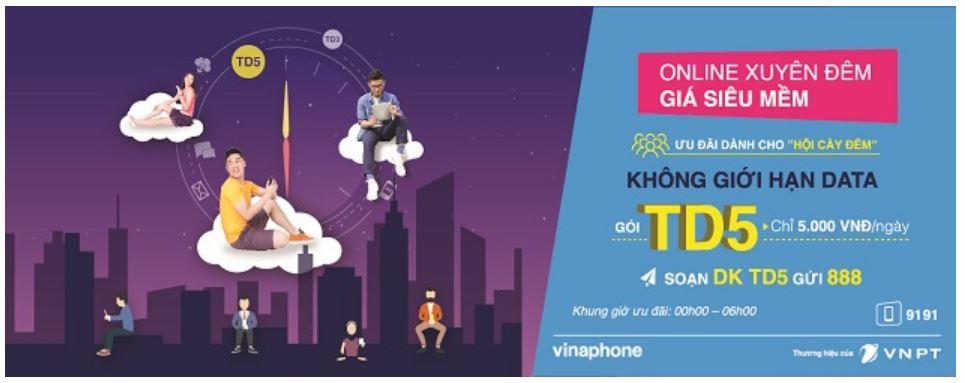 Online xuyên đêm cùng gói cước TD5 siêu hấp dẫn của Vinaphone