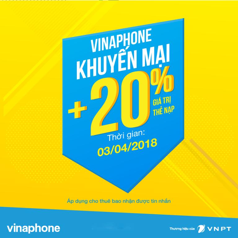 Vinaphone khuyến mại thứ 3 vui vẻ tặng 20% giá trị thẻ nạp ngày 03/04/2018