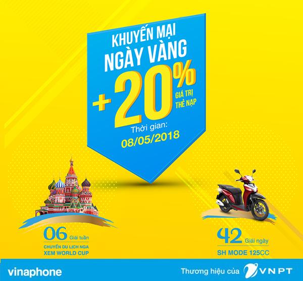 Vinaphone khuyến mãi tặng 20% giá trị thẻ nạp ngày vàng 8/5/2018