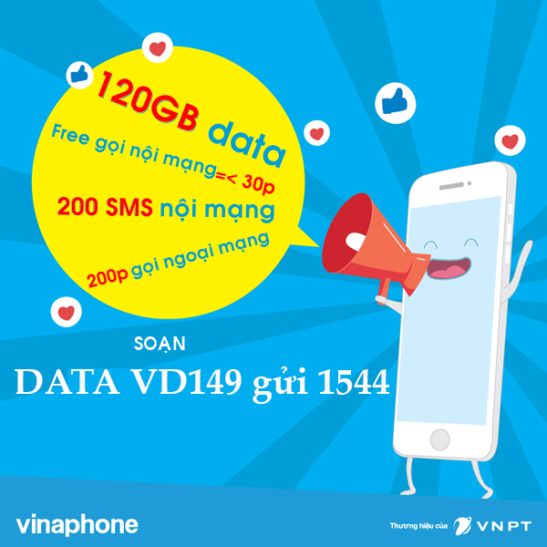Đăng ký gói cước VD149 Vinaphone gọi thoại thả ga lướt web cả tháng